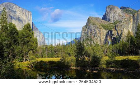 A Beautiful Rainbow Waterfall And Fall Scenery In Yosemite Valley, California. Photo Taken October 5