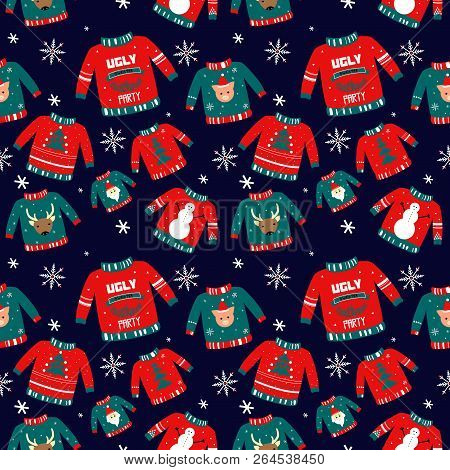 Vector Pattern For Holiday Events As Ugly Christmas Sweater Party.hand Drawn Illustration Can Be Use