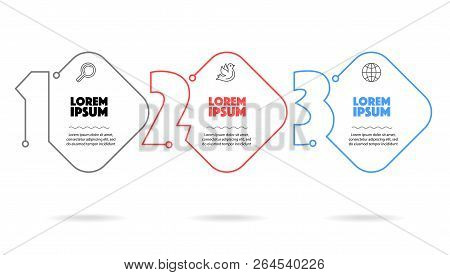 Business Infographic Template 3 Steps With Text For Website Or Presentation Brochure