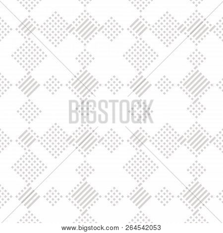 Vector Geometric Lines Pattern. Abstract Graphic Ornament With Diagonal Stripes And Small Squares. S