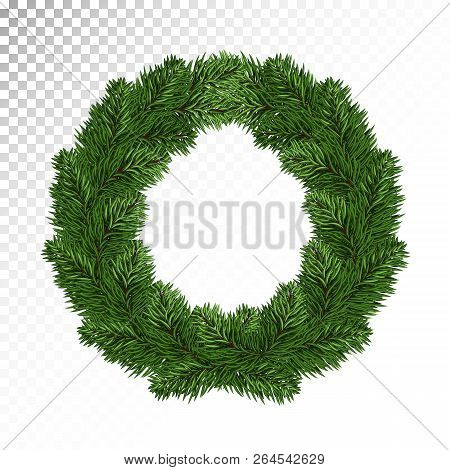 Vector Illustration Of Wreath Christmas Decoration . Round Large Coniferous Wreath. New Year.  Isola