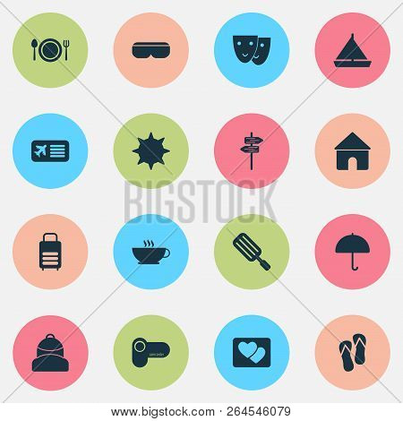 Tourism Icons Set With House, Yacht, Backpack And Other Theater Elements. Isolated  Illustration Tou