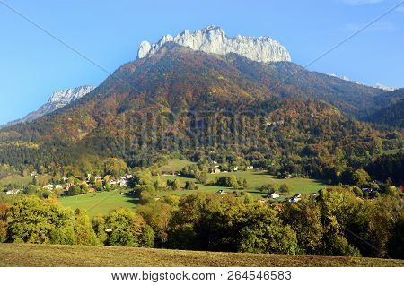 Autumn Landscape Near Alex, And Bluffy Pass, In Savoy France