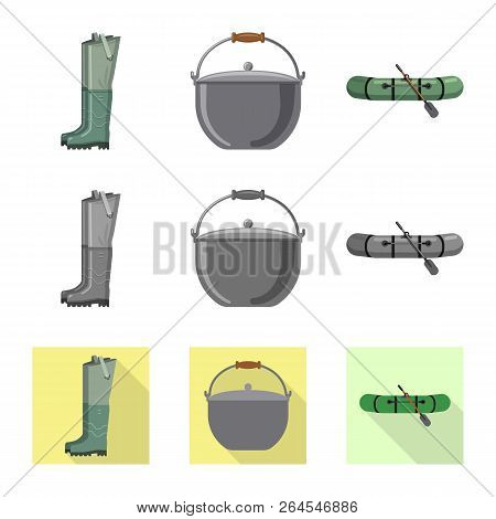 Vector Illustration Of Fish And Fishing Icon. Set Of Fish And Equipment Vector Icon For Stock.