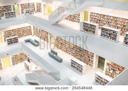 Stuttgart, Germany - August 10, 2017: Interior Wide Angle View On The Stuttgart City Library Designe