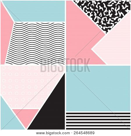 Seamless Geometric Pattern. Memphis Design. 80s And 90s Retro Style. Colorful Composition For Poster
