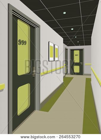 Long Corridor With Rows Of Closed Doors. Concept Of Infinite Opportunities For Success And Toughness