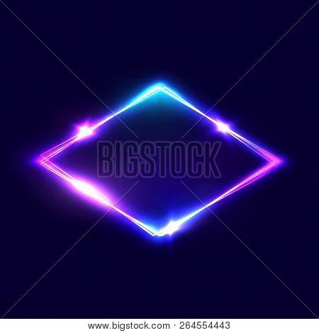 Rhombus Background On Dark Blue Backdrop. Night Club Neon Light Rhomboid. 3d Lozenge Sign With Neon
