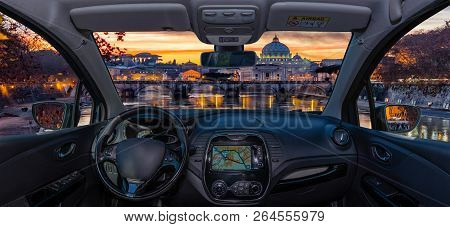 Car Windshield View Of Saint Peter's Church, Rome, Italy