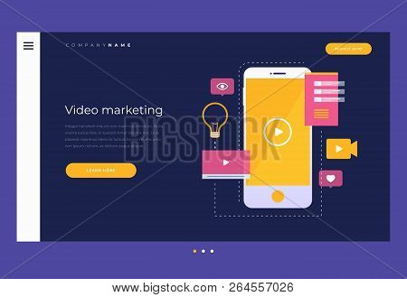 Title For Website. Homepage. Digital Marketing And Concept Of Mobile Video. Mobile Phone With Yellow