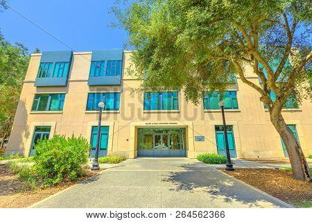 Palo Alto, California, United States - August 13, 2018: Theoretical Economics Landau Economics Build