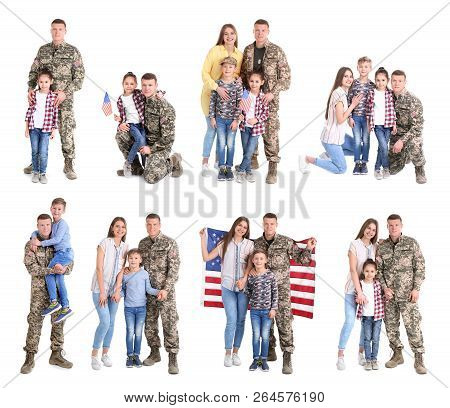 Set With Soldier And His Family On White Background. Military Service