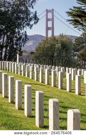 Bridge Through The Past. San Francisco National Cemetery Looking North Towards The Golden Gate Bridg