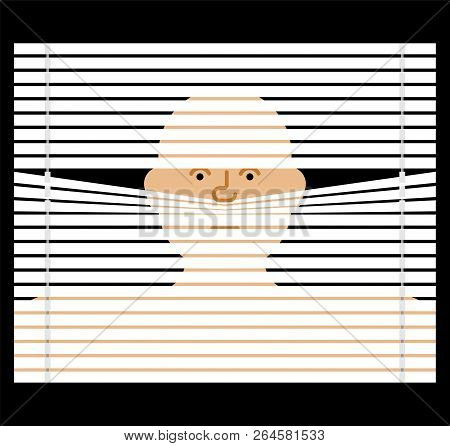Pry Through Jalousie. Watching Through Blinds. Spying Vector Illustration
