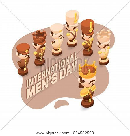 Men's Day Greeting Card With Cute Chessman.