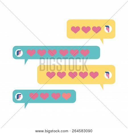 Love Chat. Babbles And Hearts. Amatory Messages