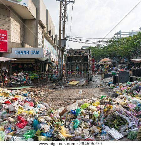 Ho Chi Minh City, Vietnam - August 25, 2017: Landfill Garbage, Rubbish At The Cho Xom Chieu Market I