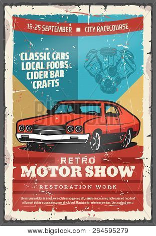 Retro Motor Show Vintage Poster With Classic Car. Old Car With Vehicle Engine Parts, Retro Motor Clu