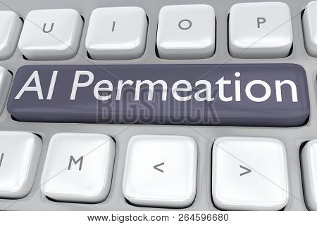 3d Illustration Of Computer Keyboard With The Script Ai Permeation On A Violet Button