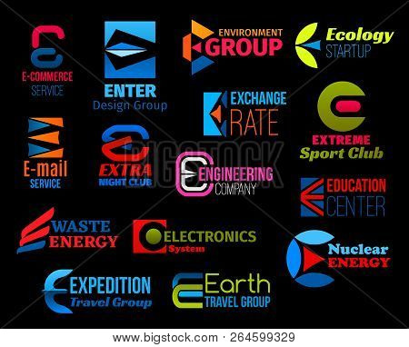Business Icons With Creative Font Of Letter E. Corporate Vector Symbol For Sport, Ecology And Energy