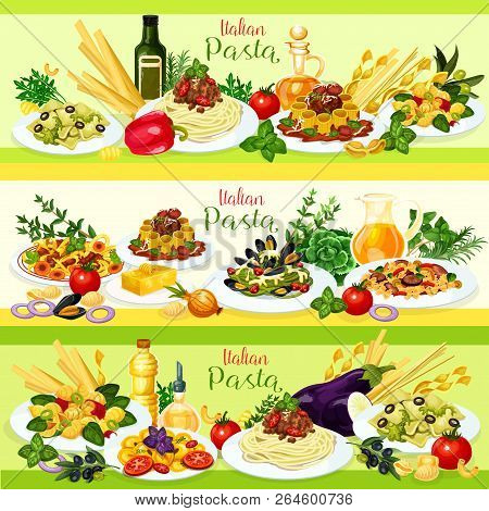 Italian Cuisine Pasta With Meat, Vegetable And Seafood Dishes. Spaghetti And Rigatoni Bolognese, Far
