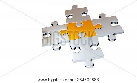3d Illustration Of Four Grey Puzzle Pieces Encircle One Gold Piece With A White Background