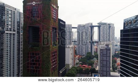 Singapore - August, 2018: View Of High Rise Office Skyscrapers And Private Residential Blocks At Tan