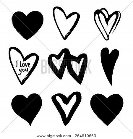 Hearts Set. Element For Design. Abstract Black Hearts. Black Hand Drawn Hearts On White Background.