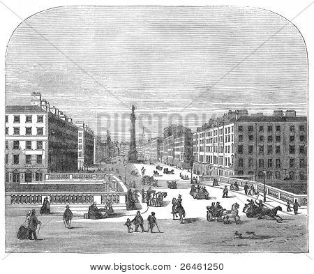 Sackville street seen from Carlisle house, Dublin, Ireland. Engraving by unknown artist from Harper's Monthly magazine, august 1873. poster