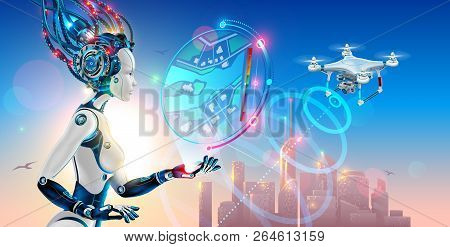 Robot Woman Controls Drone With Camera And Monitoring Situation On Map Of Smart City. Artificial Int