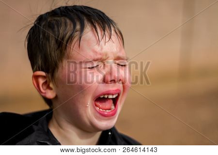 A Little Boy Screaming At The Top Of His Lungs In The Middle Of A Temper Tantrum.  A Large Tear Roll