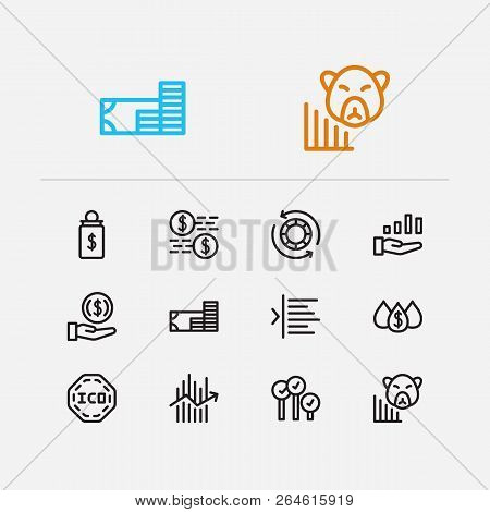 Finance Trading Icons Set. Broker And Finance Trading Icons With Invest Money, Margin And Dividend.