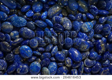 Lapis Lazuli Mineral Collection Isolated On The White Background