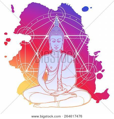 Buddha Meditating In The Single Lotus Position. Hexagram Representing Anahata Chakra In Yoga On A Ba