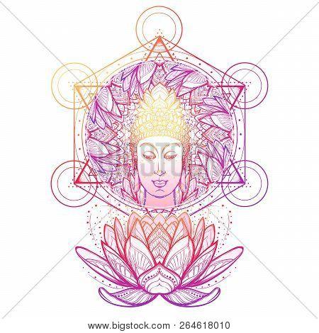 Buddha Head In A Lotus Flower Frame. Hexagram Representing Anahata Chakra In Yoga On A Background. I