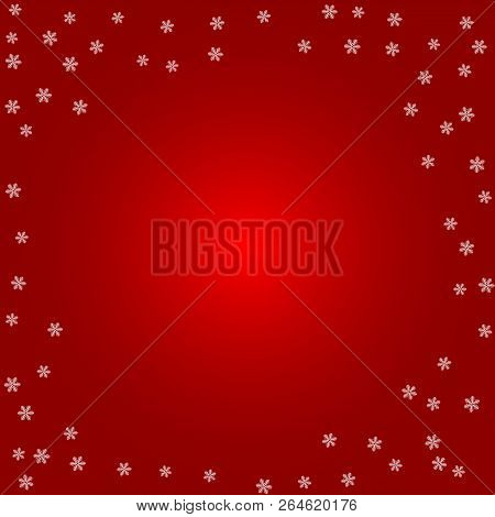Christmas Background. White Snowflakes On A Red