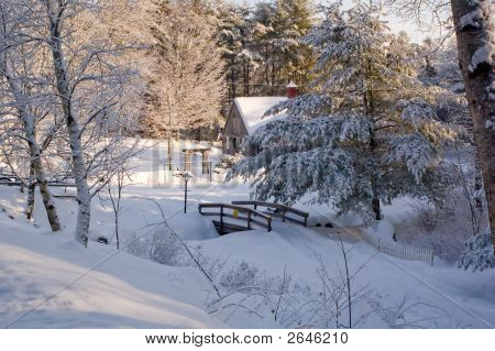 Snow Covered Woods With Bridge And Barn