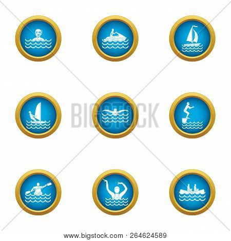 Recreation Water Icons Set. Flat Set Of 9 Recreation Water Vector Icons For Web Isolated On White Ba
