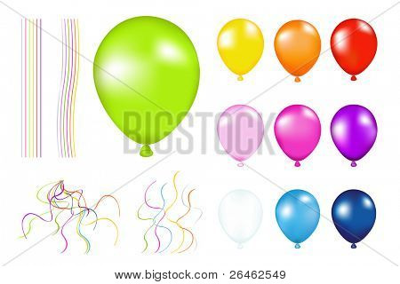 Set of Colorful Balloons with detailes. Isolated on white