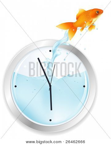 Goldfish Jumping From Wall Clock, Isolated On White