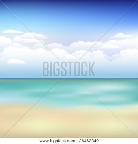 Beautiful Vector Background With Beach, Blue Sky And Clouds