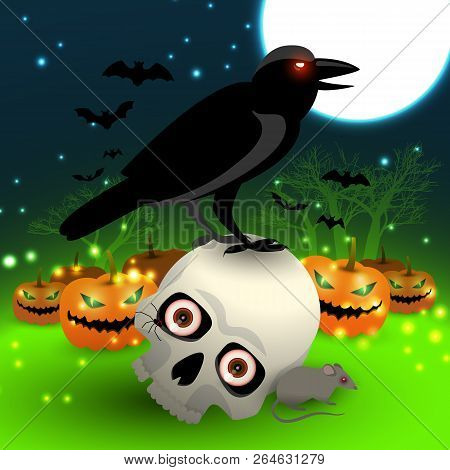 Halloween Cartoon Picture With Black Crow Sitting On Skull And Lanterns Made From Pumpkins Flat Vect