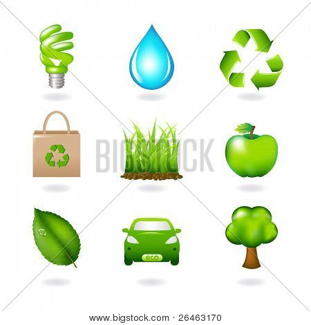 Eco Design Elements And Icons, Isolated On White Background, Vector Illustration