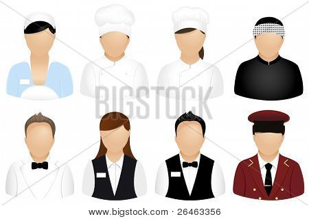 Set Of Restaurant People Icons, Isolated On White