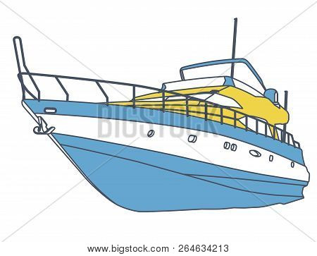 Blue Yellow Motor Boat. Outlined Sea Yacht For Fishing And Leisure Time. Luxury Expensive Motorboat,