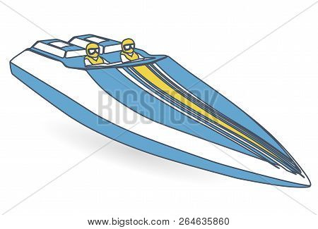Race Sports Boat. Outlined Blue Yellow Motorboat, Luxurious Powerboat, Deluxe Speedboat. Vector Illu