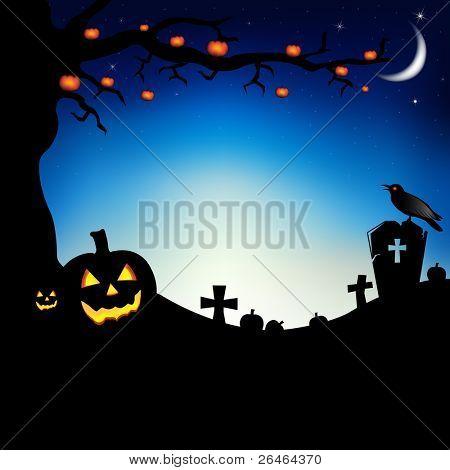 Calabazas con árbol, Raven y cementerio, Vector Illustration