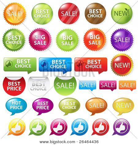 Collection Of Selling Badges, Isolated On White Background, Vector Illustration