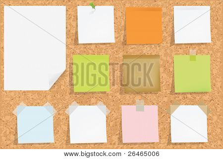 Cork Notice Board With Blank Colorful Sticker Notes, Vector Illustration
