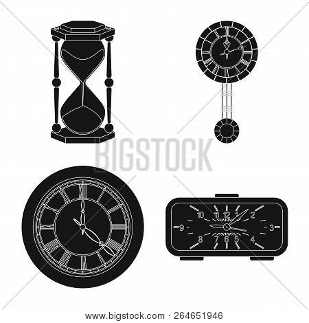 Vector Illustration Of Clock And Time Symbol. Collection Of Clock And Circle Stock Symbol For Web.
